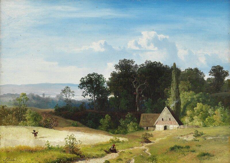 Sittende kvinne i landskap med hus og åker