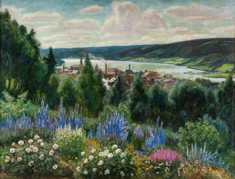 Fra kunstnerens hage, utsyn over Lillehammer 1926