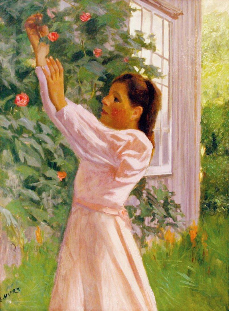 Pike ved rosenbusk