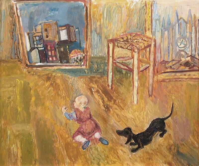 Barn og dachs i atelieret