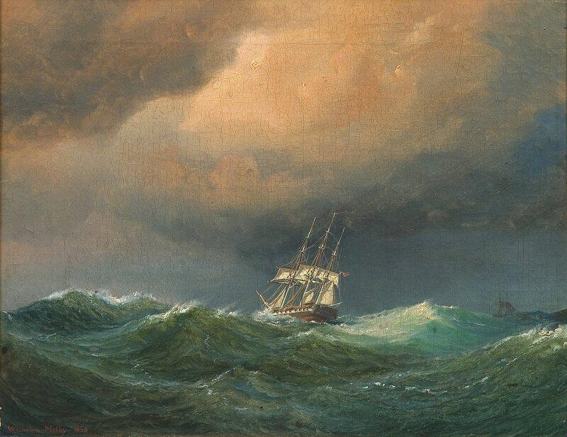 Seilskute med unionsflagg i rom sjø 1850
