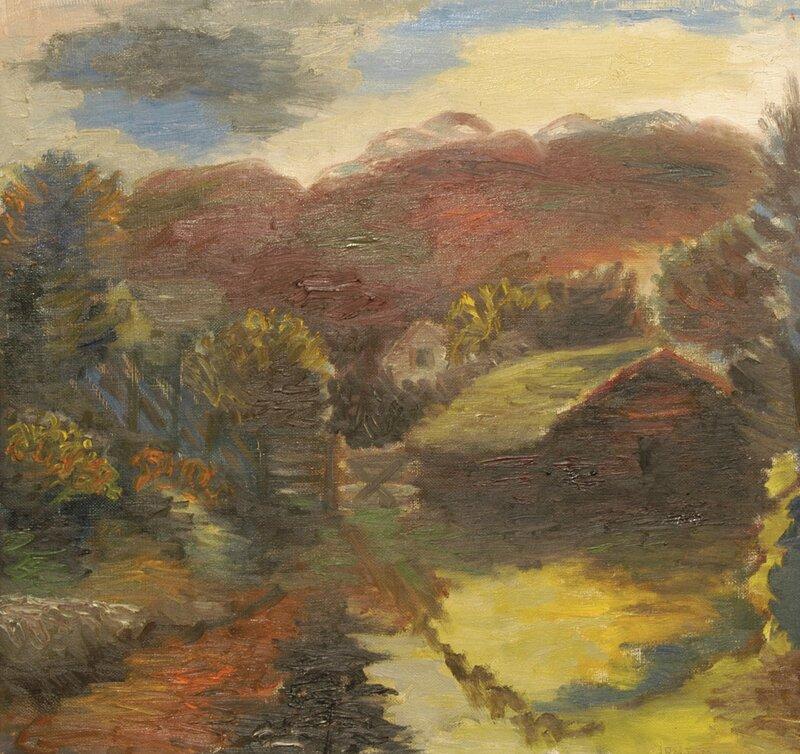 Landskap med tømmerhytte 1932