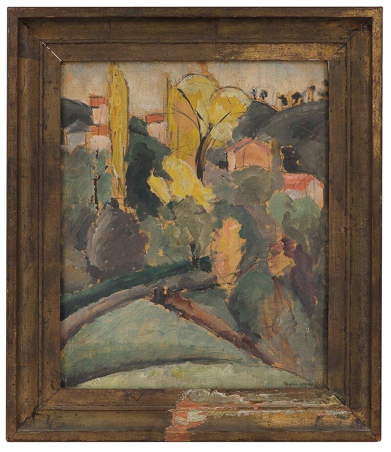 Sydlandsk landskap med hus 1920