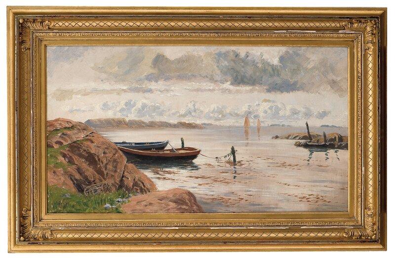 Skjærgårdslandskap med båter 1890