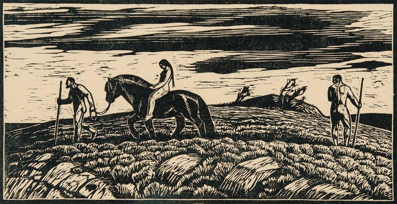 Ridende kvinne og to menn