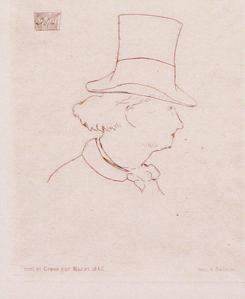 Portrett av Charles Baudelaire, i profil med hatt