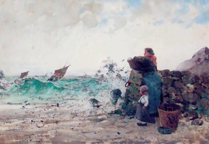 Kvinne og barn på strand