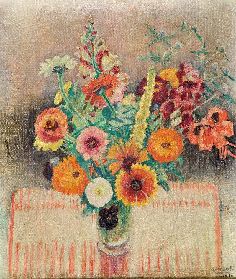 Oppstilling med blomster i vase  1920