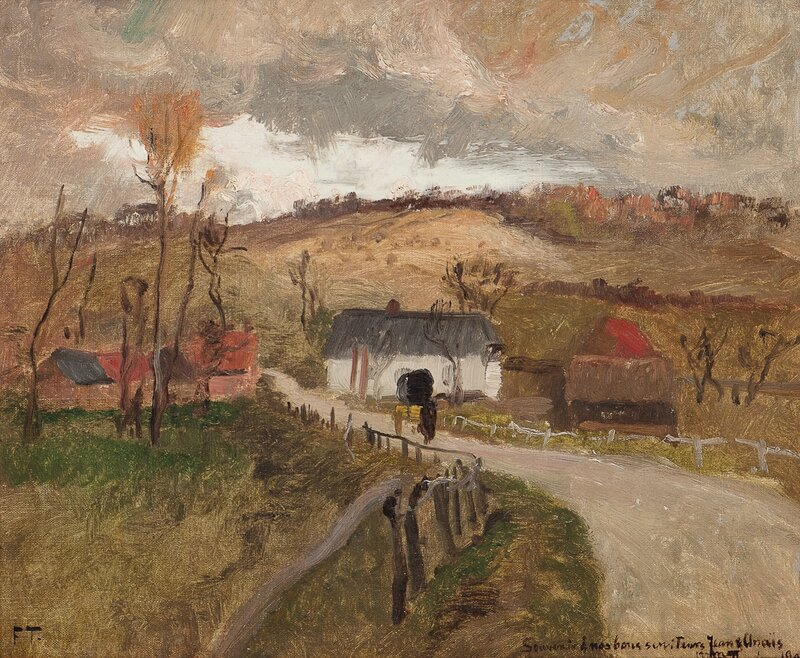 Fransk landsbygate med hus