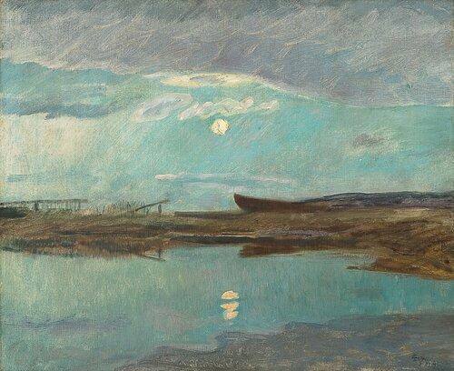 Kystlandskap i måneskinn 1898