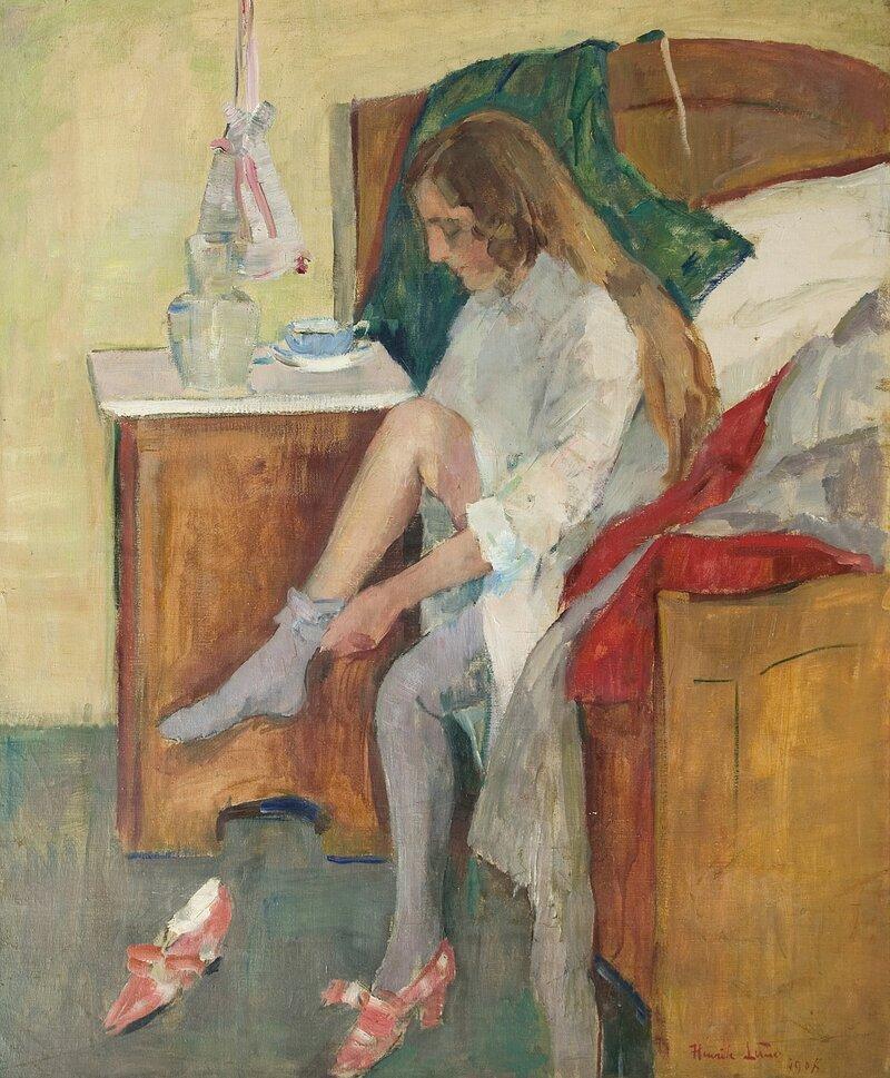 Kvinne på seng 1908