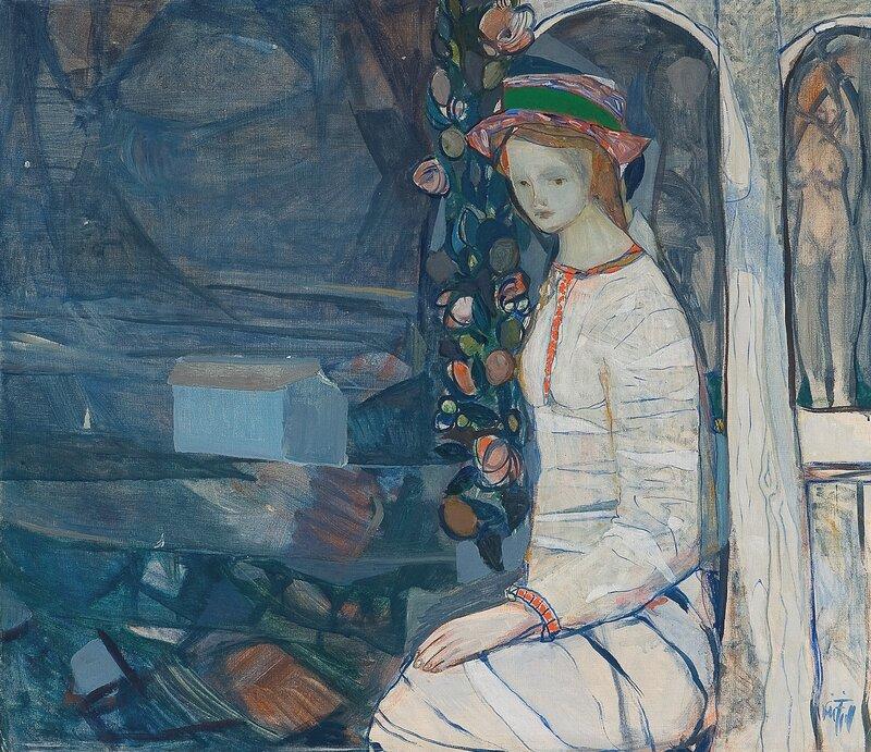 Kvinne på veranda