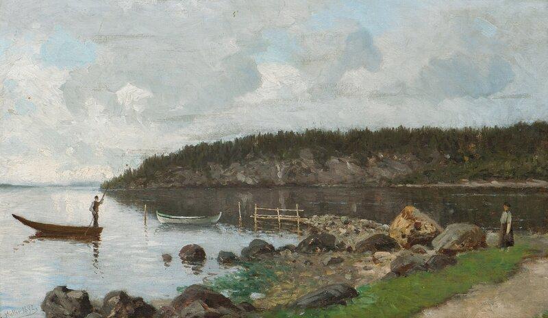 Fjordlandskap med folkeliv 1892