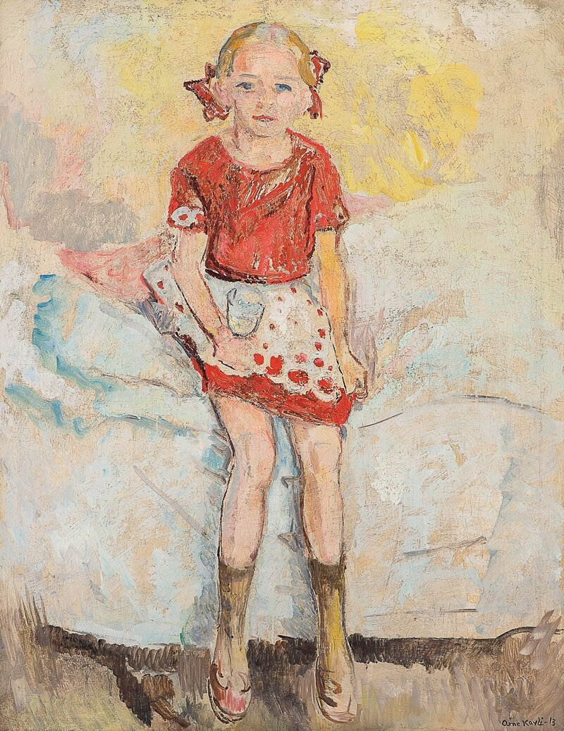 Girl on a bed with a wineglass
