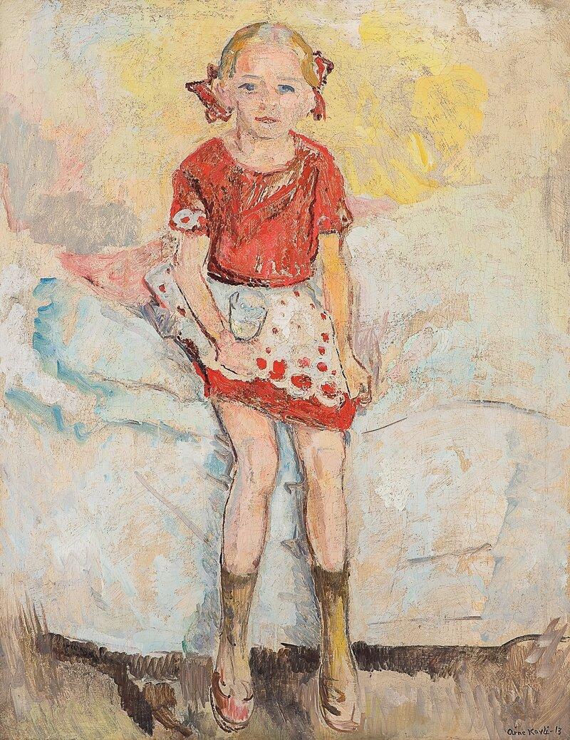 Pike på seng med vinglass 1913