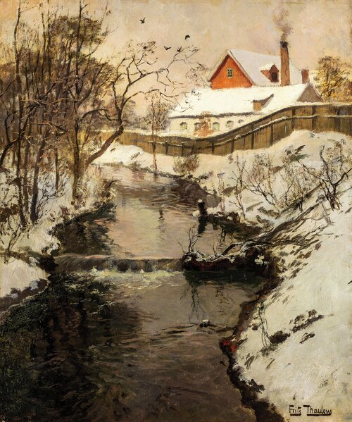 River landscape with factory buildings, winter