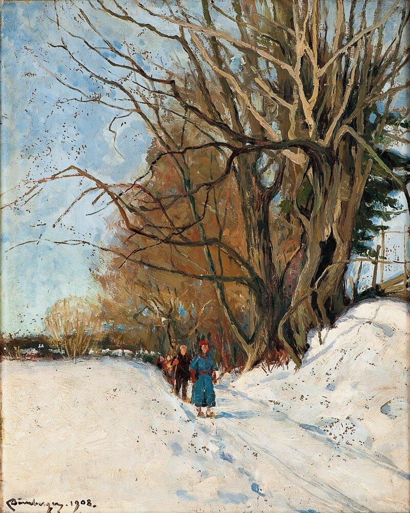 På ski 1908