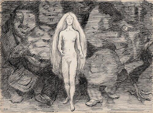 Naken kvinne og menn som troll