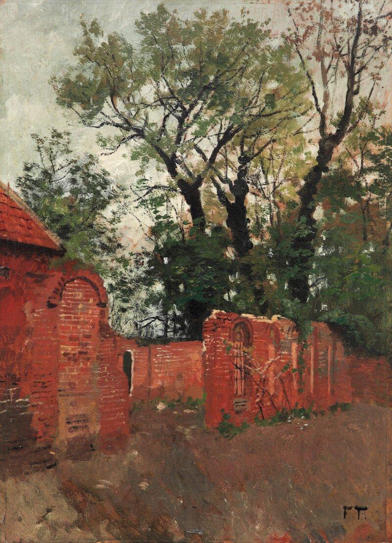 Rød mur og trær Fra omegnen av Amiens
