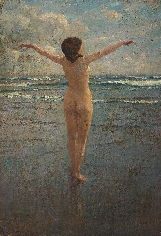 Kvinne på strand
