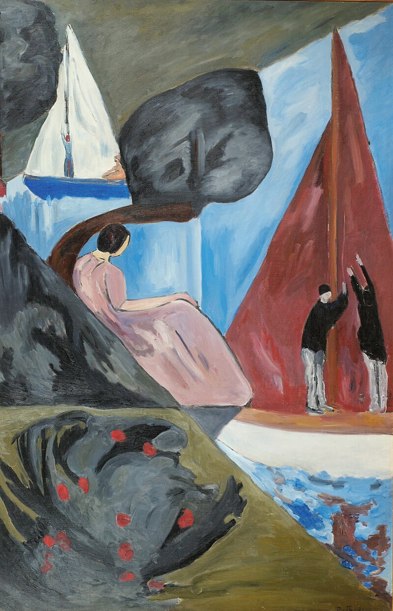 Kvinne og seilbåter 1921