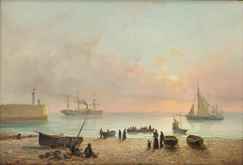 Strandparti med folkeliv 1877