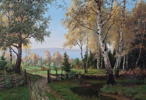Forest Landscape with country road by a lake