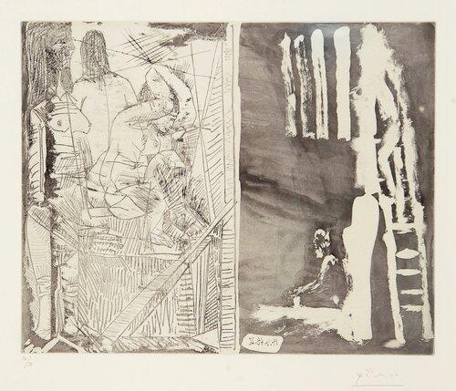 Tenkende kunstner foran stort lerret