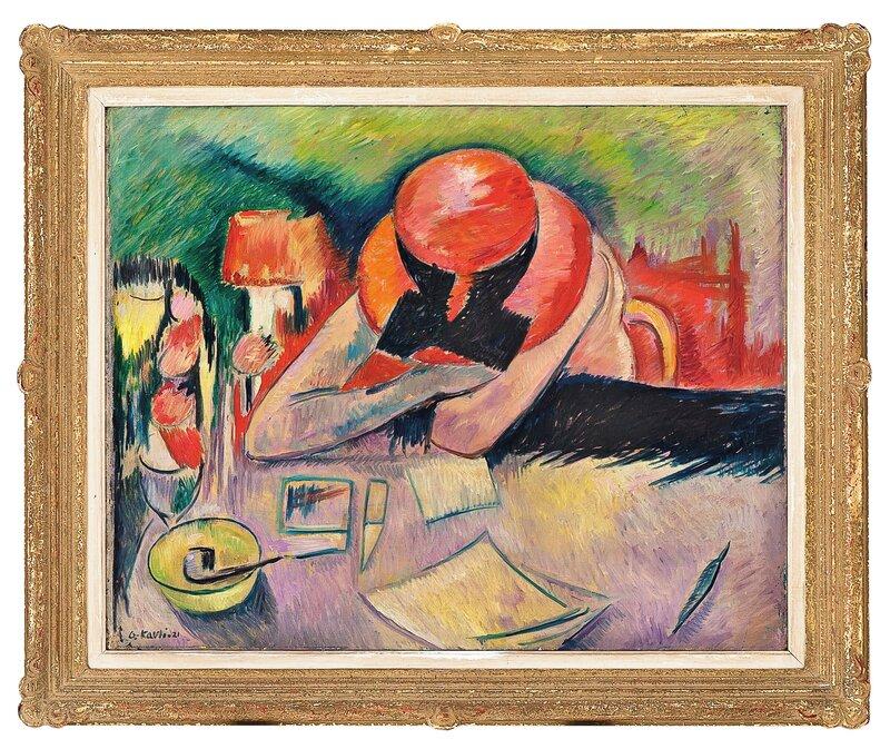 Rød hatt og vinglass 1921