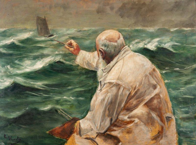 Selvportrett, maler på et marinebilde