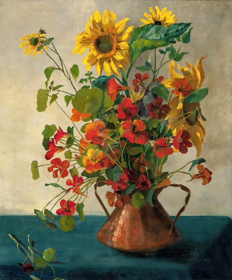 Sunflowers and Indian Cress in a Copper Vase 1894