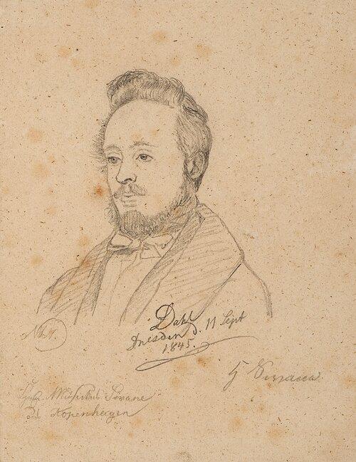 Portrett av musikklærer Swane 1845