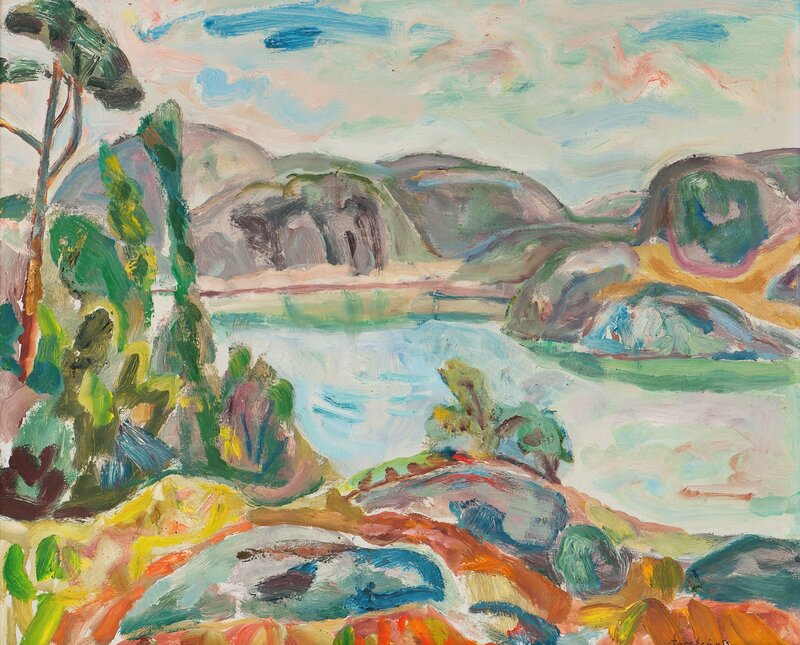 Utsikt mot Ransholmen, Justøy 1953