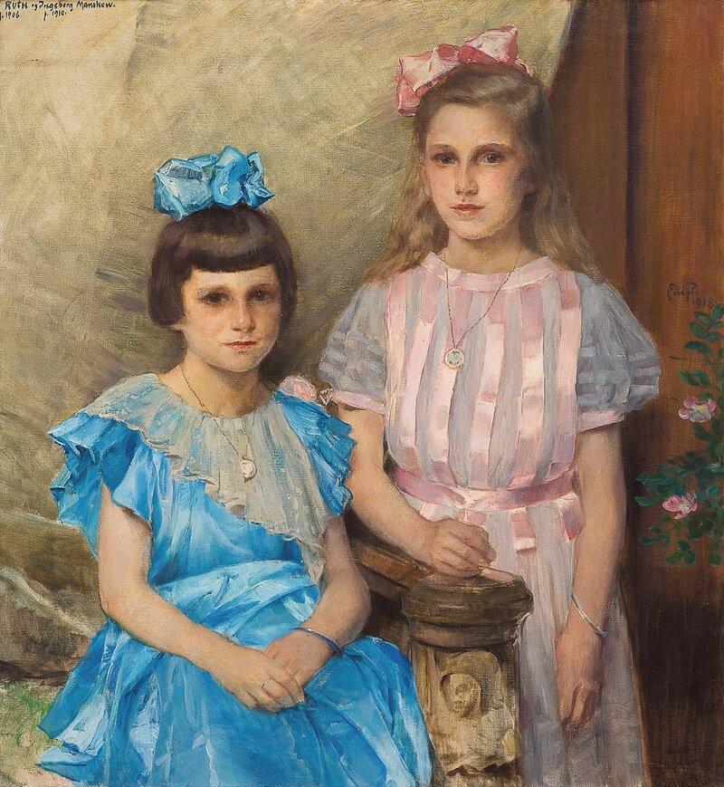 Portrett av Ruth og Ingeborg Manskow 1918