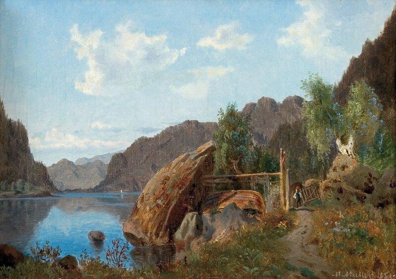 Fjordlandskap med mann og båt 1851