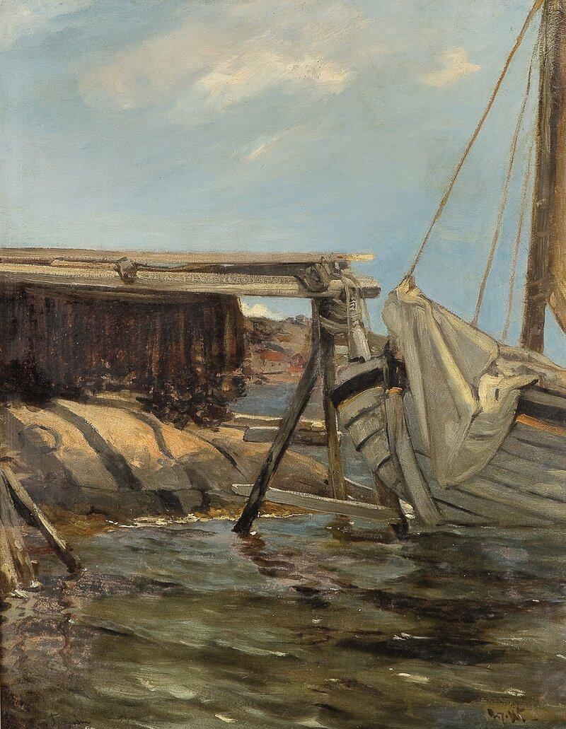 Garntørk ved havn på Tromøen 1885
