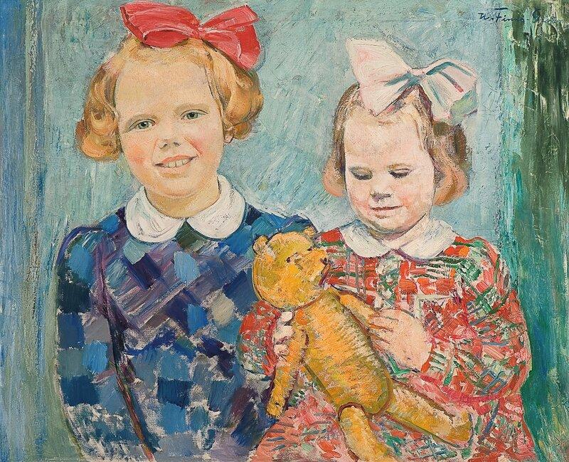 To barn med bamse