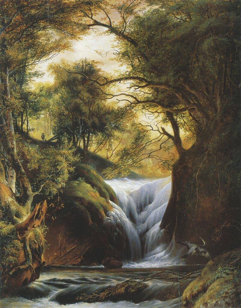 Jeger i skogslandskap med foss 1825