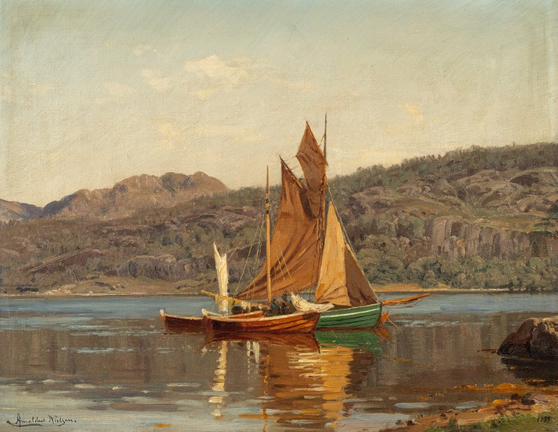 Fishing Boats by Dimmelsvik, Terøya 1899