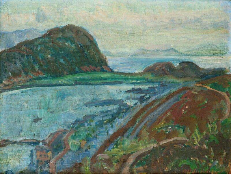 Kystlandskap, utsikt fra byfjellet Aksla mot vest i Ålesund  1921
