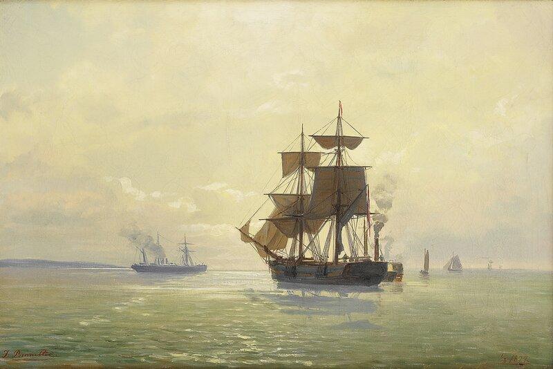 Seilskuter og dampbåter 1877