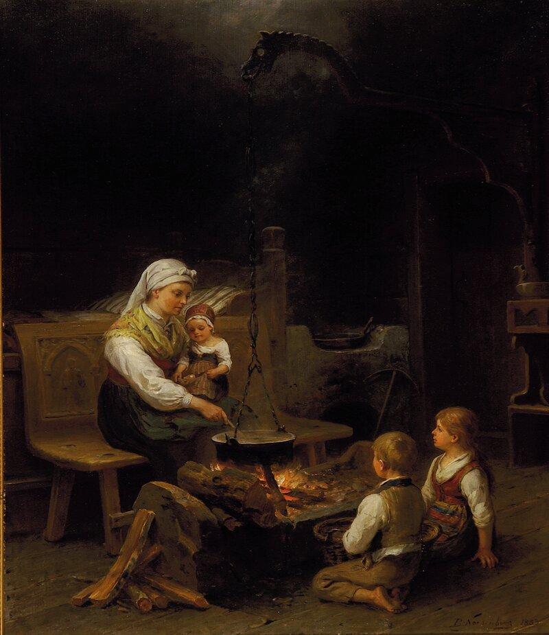 Kvinne og barn i en årestue 1883