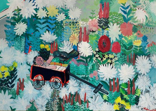 Wagon, Doll and Bird in Flower bed 1955