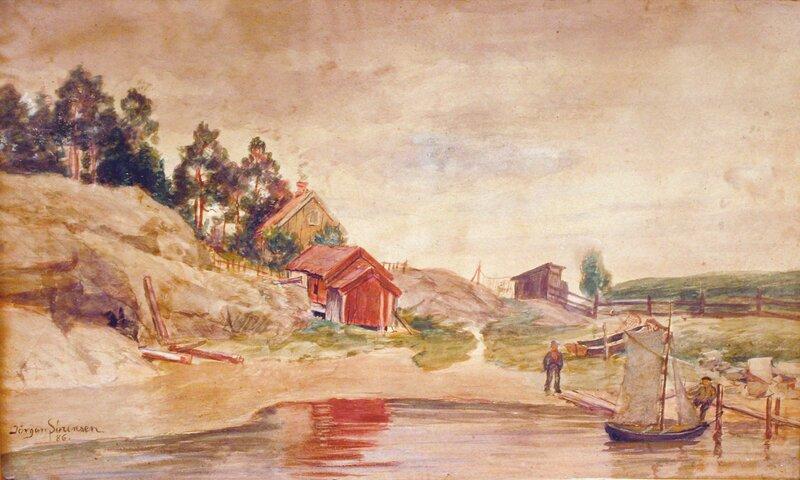 Strand med folkeliv 1886