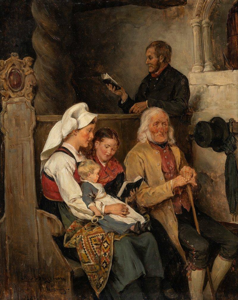 På kirkebenken, Hardanger 1880