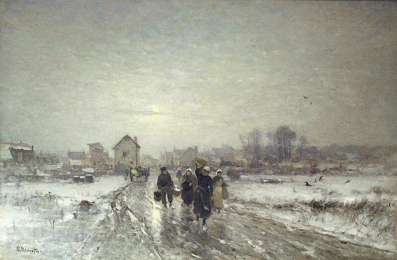 Kvinner og mann på landevei ved landsby