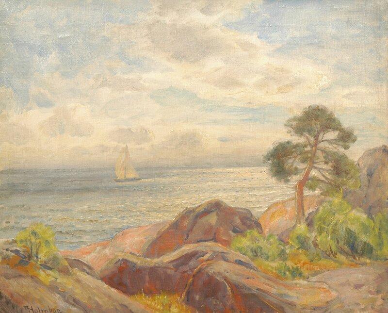 Kystlandskap og seilbåt