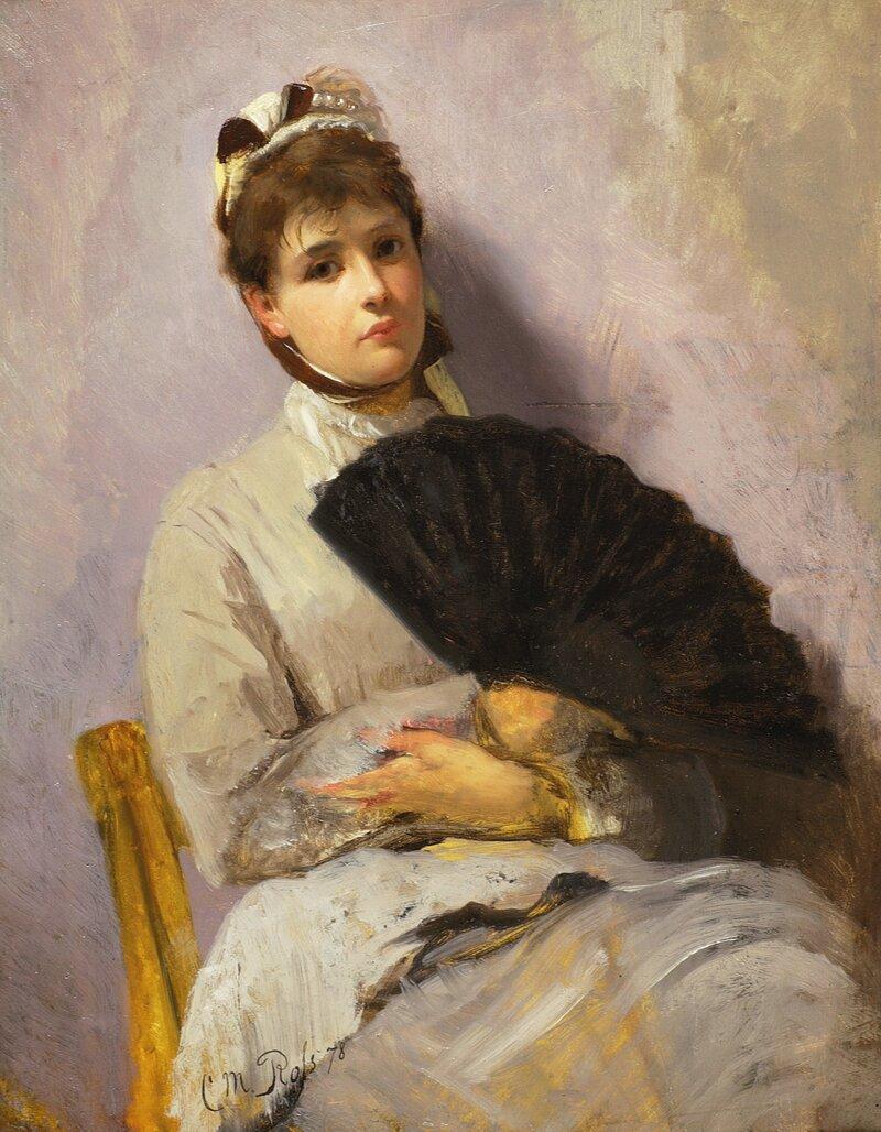 Ung kvinne med vifte 1878