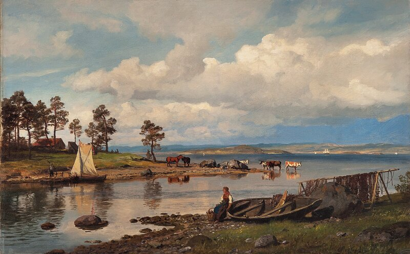 Fjordlandskap med folkeliv 1875