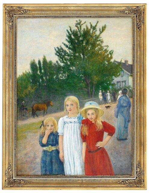 Gateparti med tre piker